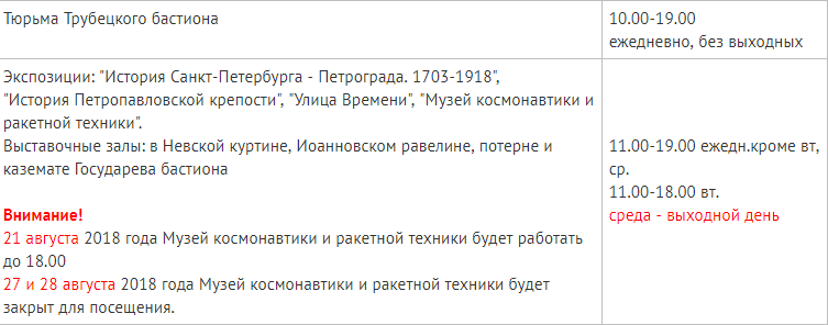 Расписание посещение музея