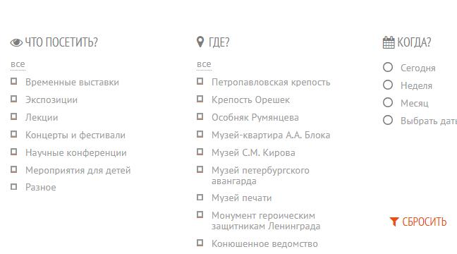 Информация о музеях Санкт-Петербургах